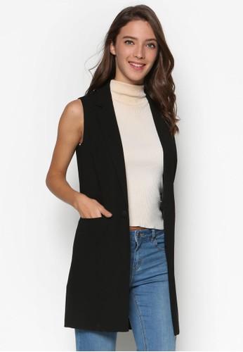 長版斜紋無袖外套, 服飾esprit台灣, 外套