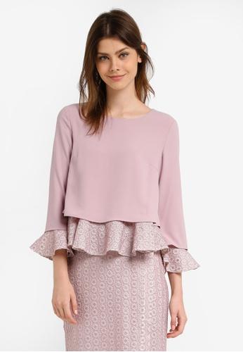 Zalia pink Lace Layer Loose Peplum Top E059FAA9CB3EC7GS_1