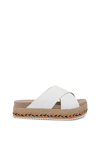 London Rag white White Cross Strap Flatform Sandals A1A56SHA1C6A1FGS_1