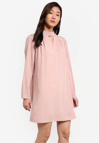 ZALORA pink Long Sleeve Lace Yoke Detail Dress D1A08ZZ335EBFEGS_1