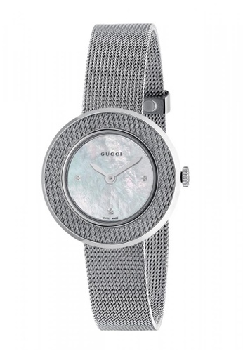 206dd97992d Gucci silver GUCCI U-Play Diamond Mother of Pearl Dial Stainless Steel Mesh  Ladies Watch