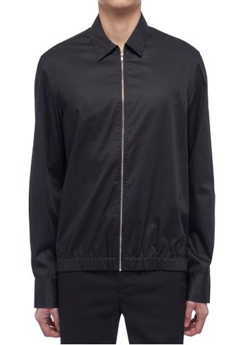 CK CALVIN KLEIN black Dense Twill Long-Sleeved Zip-Up Shirt C5BFBAAD1D8E57GS_1