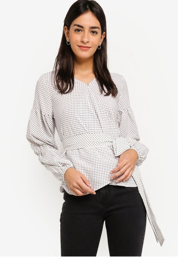 ZALORA white Overlap Long Sleeves Blouse 5DEA4AA5182473GS_1