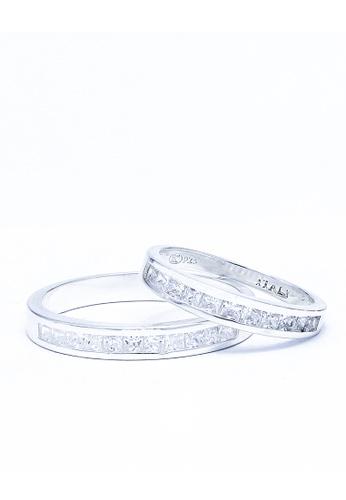 Sopistikada silver Soulmates 7-stone 925 Sterling Silver Couple Rings Size 8.5 SO776AC0JV97PH_1
