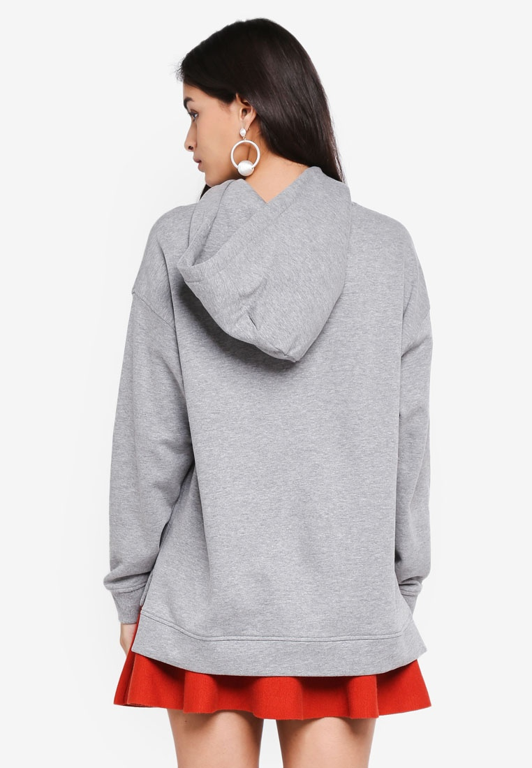 Vero Grey Melange Long Moda Sleeve Eida Hoodie Light Embroidery Black PwvtpxPY