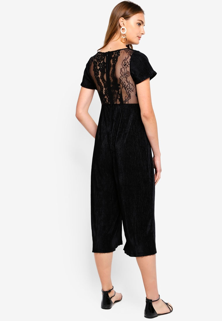 French Velvet Black Ottoman Connection Jumpsuit Jersey Sarelle rRwarqtz