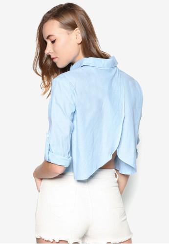 背部裹式短版長袖襯衫, 服飾, 襯zalora taiwan 時尚購物網鞋子衫
