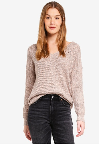 Abercrombie & Fitch grey V-Neck Pointelle Shaping Pullover 00EC9AA3F44114GS_1