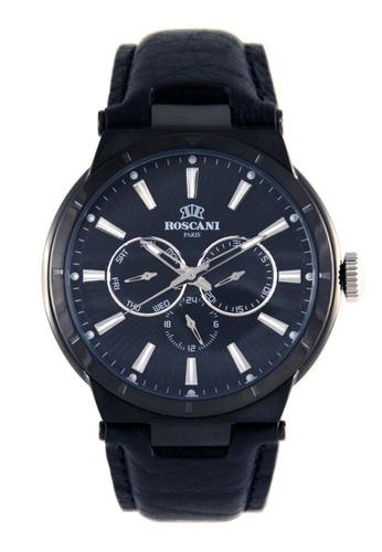 Roscani black Roscani Mark M 912M (Multifunction + WR 5ATM) Black Blue Leather Men Watch 6D393AC35EB56FGS_1