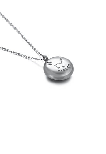 Glamorousky white Fashion and Simple Twelve Constellation Pisces 316L Stainless Steel Pendant with Cubic Zirconia and Necklace 60EC4AC590B005GS_1