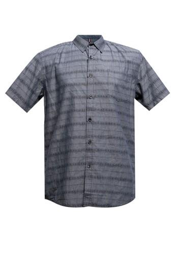 Police Denim navy Regular Fit Cotton Border Short Sleeves Shirt AEE75AA920823EGS_1