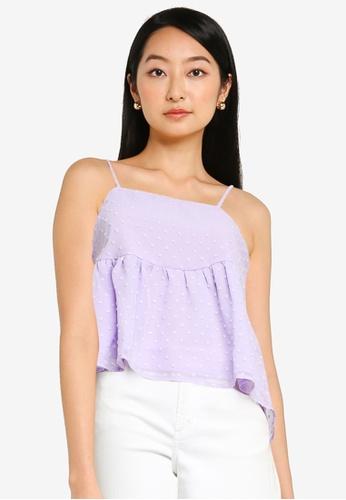 ZALORA BASICS purple Cami Peplum Top 3099AAAEFF0B5BGS_1