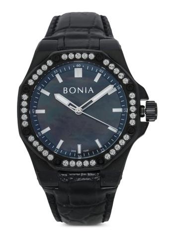 BONIA black Bonia BNB10290-1732S Black Leather Watch BO777AC0SE07MY_1