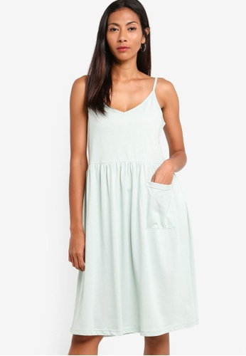 ZALORA BASICS green Basic Midi Cami Dress With Pocket BD9F2AA64C613AGS_1