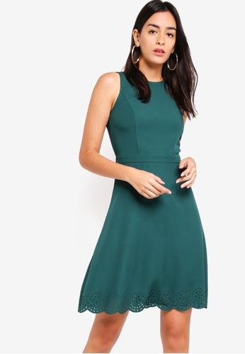 ZALORA green Laser Cut Sleeveless Dress 75BC9AA4E7679CGS_1