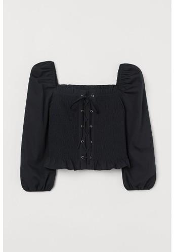 H&M black Smocked blouse A5E93AA3097F1BGS_1