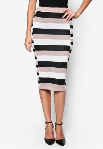 條紋針織鉛zalora 折扣碼筆短裙, 服飾, 服飾