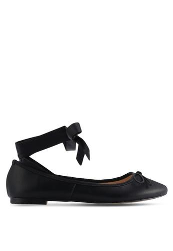 ZALORA black Lace Up Bow Ballerinas 0E37CSHA3E634FGS_1