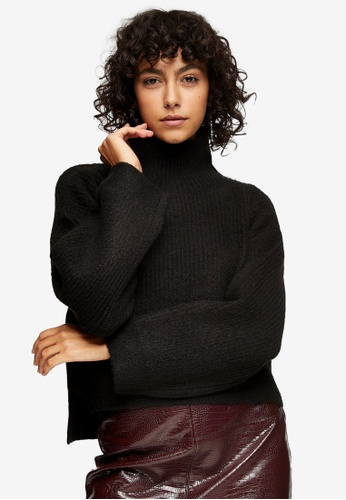 TOPSHOP black Black Cropped Funnel Neck Knitted Jumper 62942AA000023FGS_1