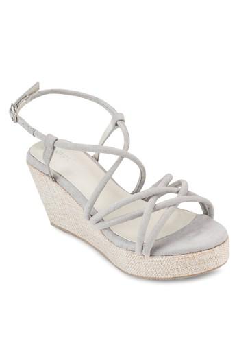 交叉salon esprit多帶楔型跟厚底涼鞋, 女鞋, 楔形涼鞋