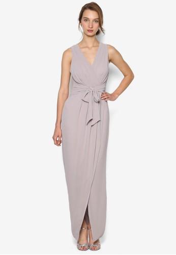 Dixizalora 內衣e 裹飾抓褶繫帶連身長裙, 服飾, 洋裝