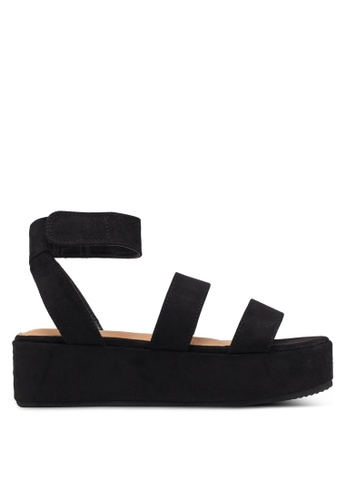 Rubi 黑色 人造麂皮繞帶楔型涼鞋 2AB64SH970EA0EGS_1