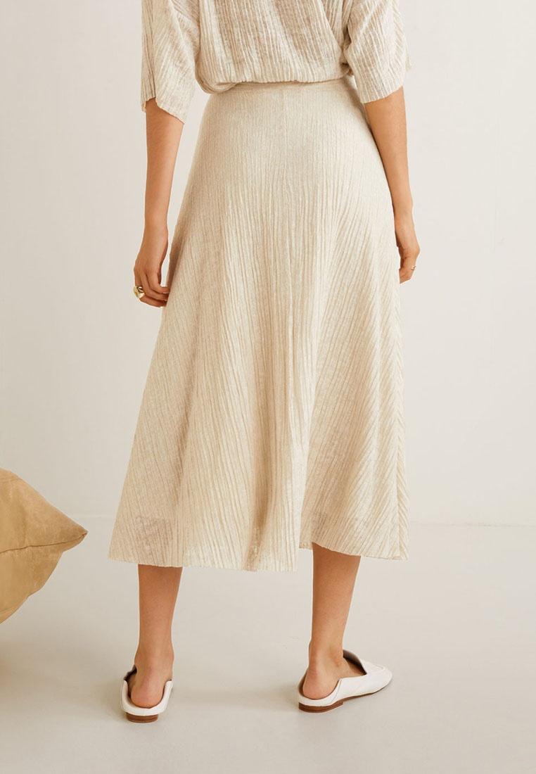 Brown Textured Skirt Flowy Pastel Light Mango 05zOwXqnx