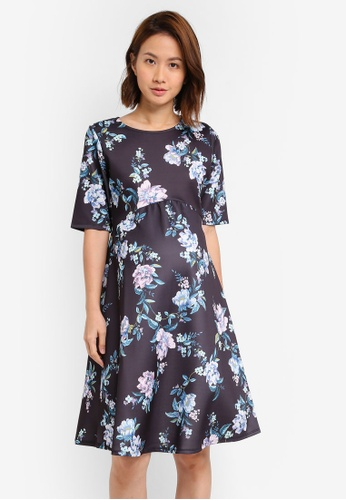 Dorothy Perkins navy Maternity Floral Print Empire Line Skater Dress DO816AA0ST0DMY_1