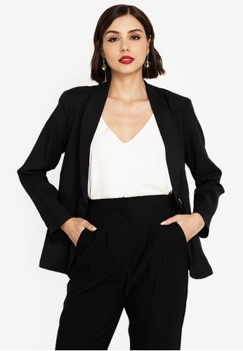ZALORA WORK black Shawl Collar Blazer AE3C3AA4117F63GS_1