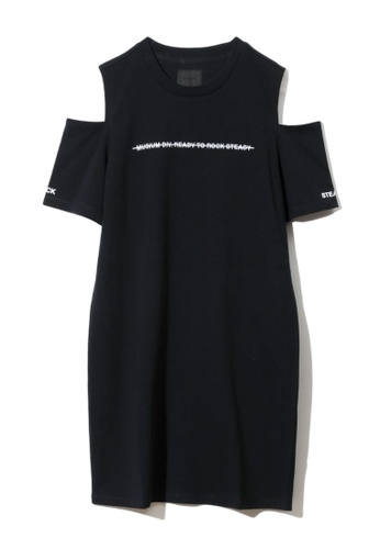 MUSIUM DIV black Logo embroidered cold-shoulder T-shirt 963EAAAE00D1C6GS_1