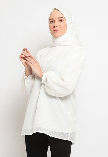 The Executive white Tunic With Ruffle Neck Details 8A435AAFC9BF56GS_1