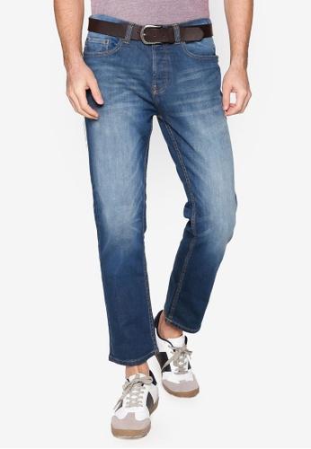 Burton Menswear London blue Greencast Belted Straight Jeans 3051EAAF40CB90GS_1