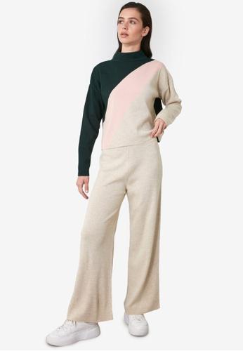 Trendyol beige Top-Bottom Colorblock Sweater Set 396F6AA9B6D79DGS_1