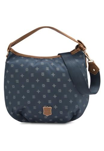 zalora時尚購物網評價仿皮邊飾印花尼龍手提包, 包, 包