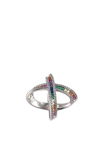 Megane silver Myrrh Criss Cross Multi Coloured Ring 41CBBAC8B4BC11GS_1
