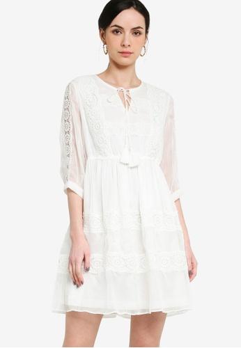 Hopeshow white Lace Sheer Sleeves Mini Dress 89046AA1CFEFA9GS_1