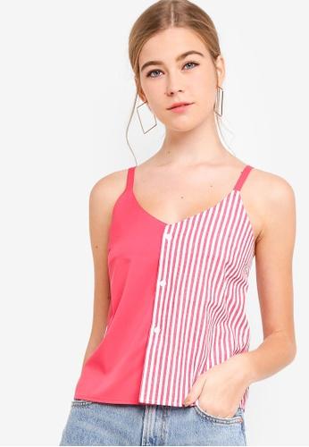 Something Borrowed red Cami Striped Top C3F9FAA5616C2FGS_1