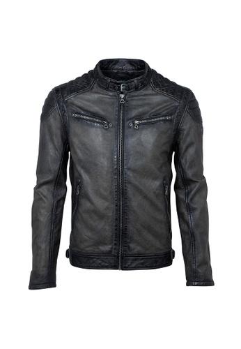 Gipsy 黑色 COLT W18領口扣環仿舊皮衣 D277DAABE76671GS_1
