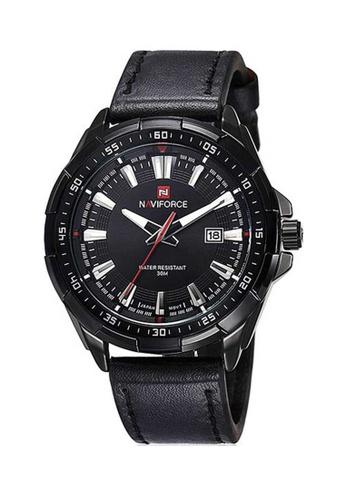Naviforce black Naviforce Black Leather Watch 60FF7AC042B6F8GS_1