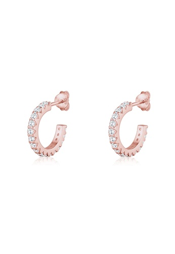 renommée mondiale grande remise de 2019 site professionnel Elli Germany Earrings Creole Geo Swarovski® Crystals 925 Silver Rose Gold  Plated