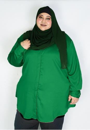 Zaryluq green Curve Tunic Top in Mystique 9401DAAAC2F00BGS_1