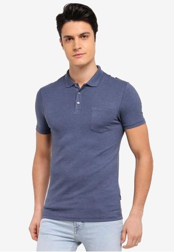 Burton Menswear London 藍色 短袖修身POLO衫 85CCEAA5DBD7D5GS_1