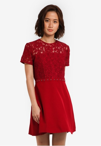 ZALORA red Lace Panel Fit And Flare Dress 59A70AAB7C6704GS_1
