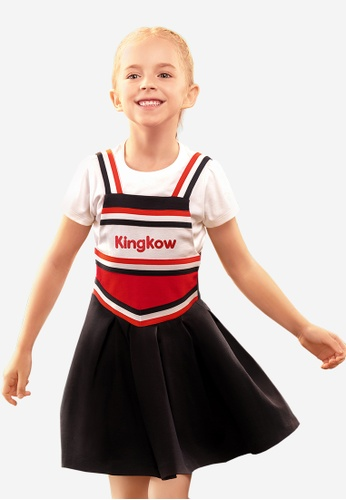 Kingkow navy Colour Block Logo Dungaree Dress 4-12 years 6970DKAD8A83BAGS_1