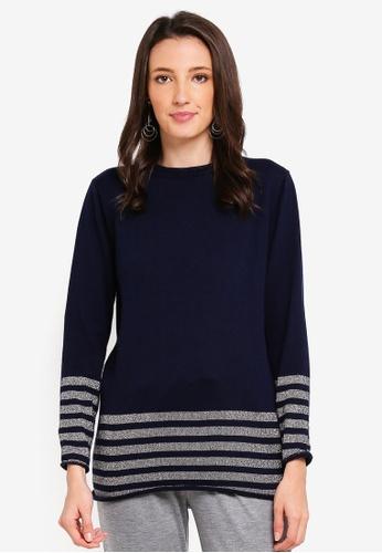 Zalia navy Metallic Stripes Knitted Sweater 8FB29AA7D5E372GS_1