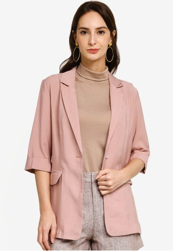 Hopeshow pink Single Breasted Elbow Sleeve Blazer 95649AADDDE0A0GS_1