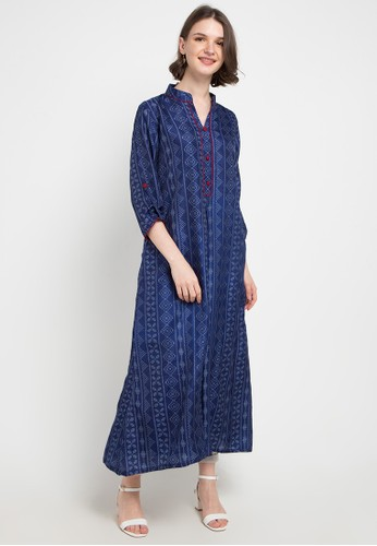 Chanira Festive Collection multi and navy Claire Silk Tunic D6858AADC579FEGS_1