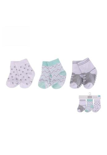 Little Kooma grey and white and green Hudson Baby Socks 3 Pairs Pack Anti-slip 00443 - 1215 95B29KA137C563GS_1