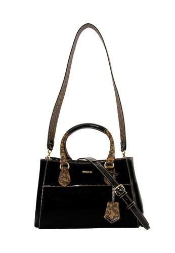 SEMBONIA black Microfiber Trimmed Coated Canvas Satchel Bag (Black) SE598AC0RUYZMY_1