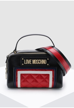 f9bc5e17d5ff Love Moschino red Quilted Top-Handle Bag C7BF5AC6EE9D21GS_1